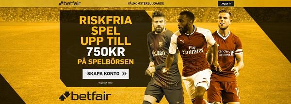 Ny bonus på Betfair oddsbörs värd 750 kr