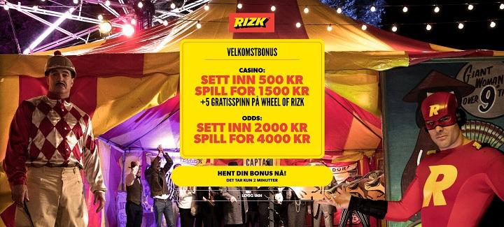 Rizk.com casino och oddsbonus 2018